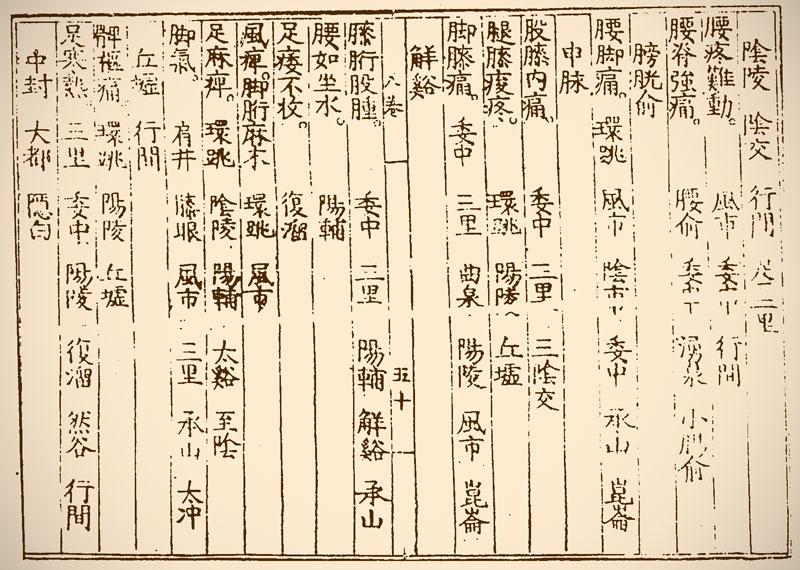 中国明代の鍼灸学書『鍼灸大成』にある腰痛のツボ