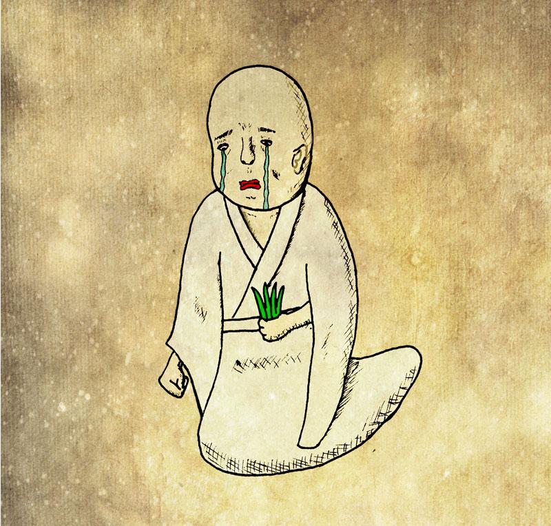 子どもの頭の中で描かれていた米を残されたお百姓さんが泣いて悲しむ図