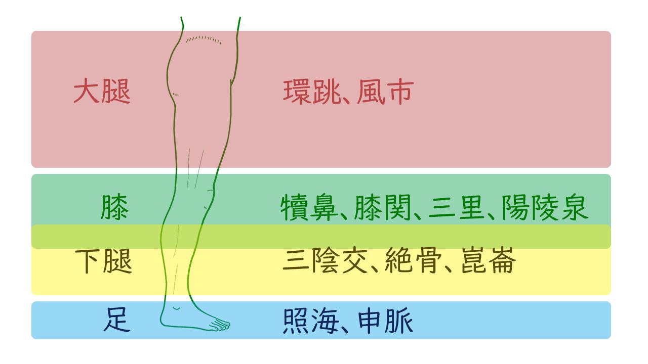 下肢の領域別のツボリスト